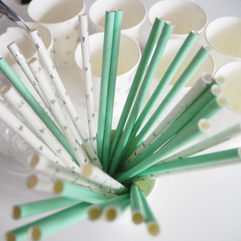 Słomki papierowe miętowe