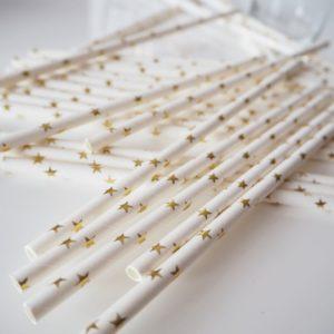 Słomki papierowe w złote gwiazdki (2)
